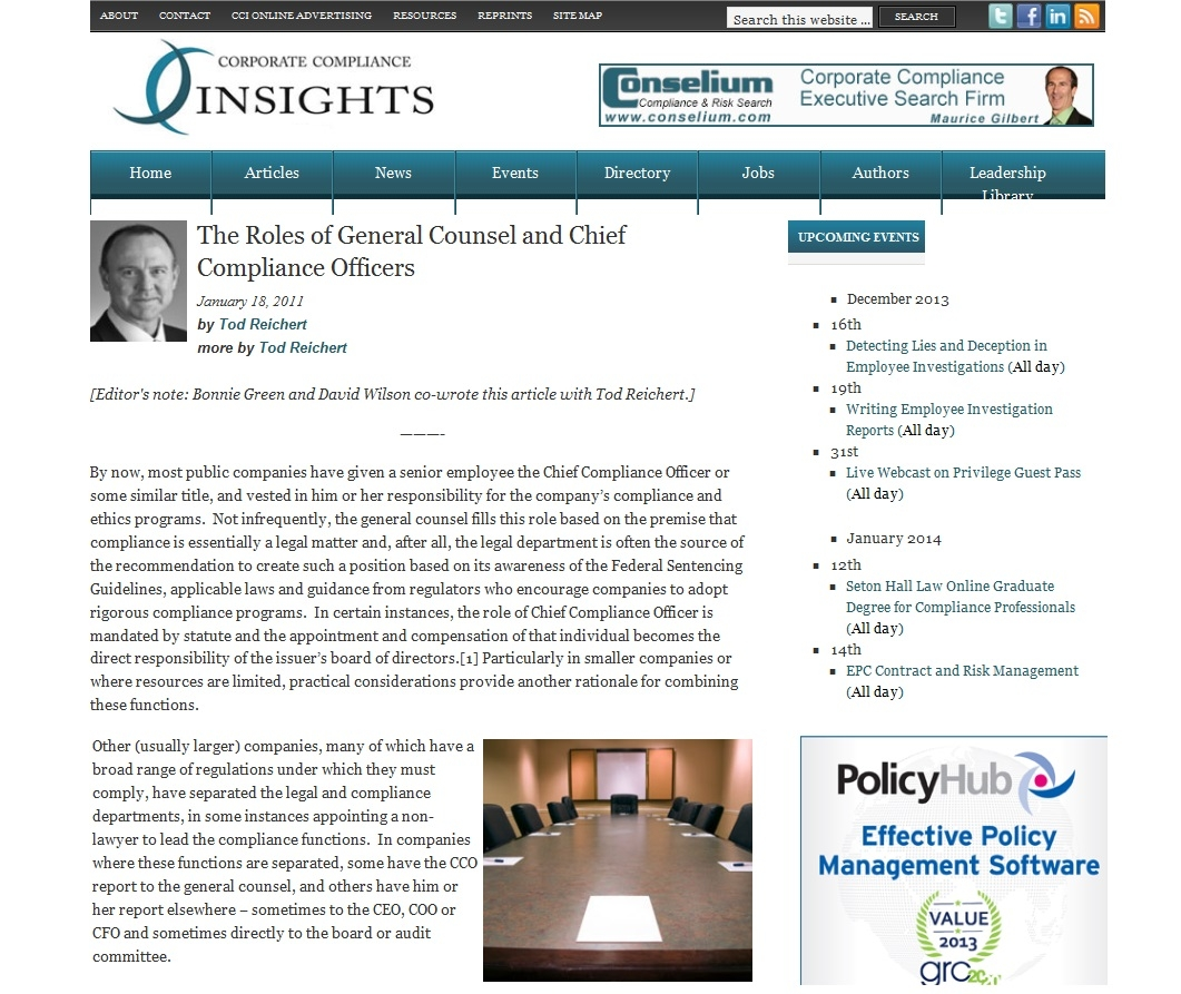 the roles of general counsel and chief compliance officers portfolios